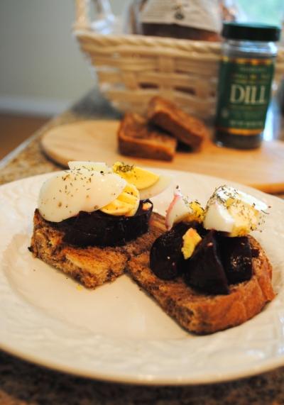 beets & egg toast